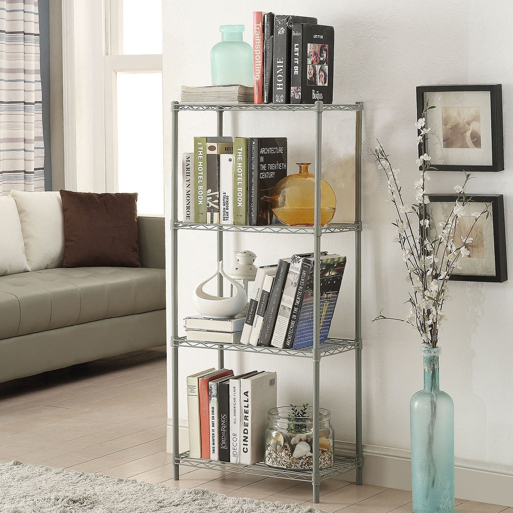 Wire Shelving 4-Tier Metal Wire Shelf Storage Rack Durable Organizer Unit Perfect for Kitchen Garage Pantry Organization