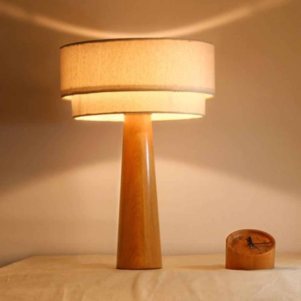 Wooden & Linen Tripod Table Lamp Light Nightstand Desk Bedroom Bedside Lighting
