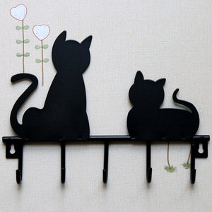 Cat design Metal Iron Wall Door Mounted Rustic Key or Coat Rack