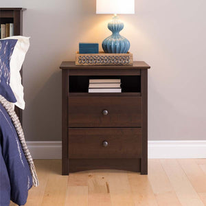 Prepac Espresso Fremont Tall 2 Drawer Nightstand with Open Shelf