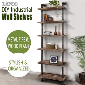 IKayaa 6 Tier Rustic Industrial Ladder Wall Shelves W/ Wood Planks DIY Iron Pipe Standing Book Shelf Utility Storage Rack