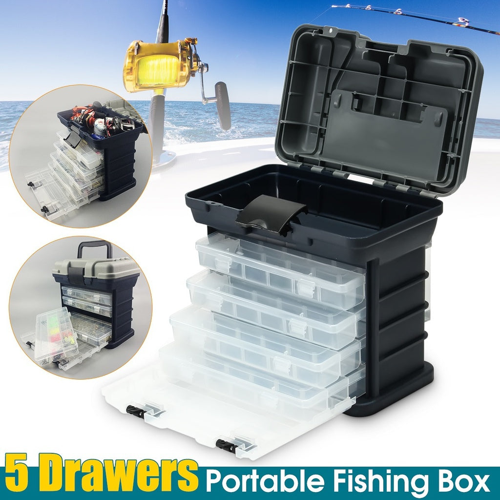 4 Trays Portable Drawer Rack Tackle Box Case Fishing Fish Bait Hook Storage Organizer