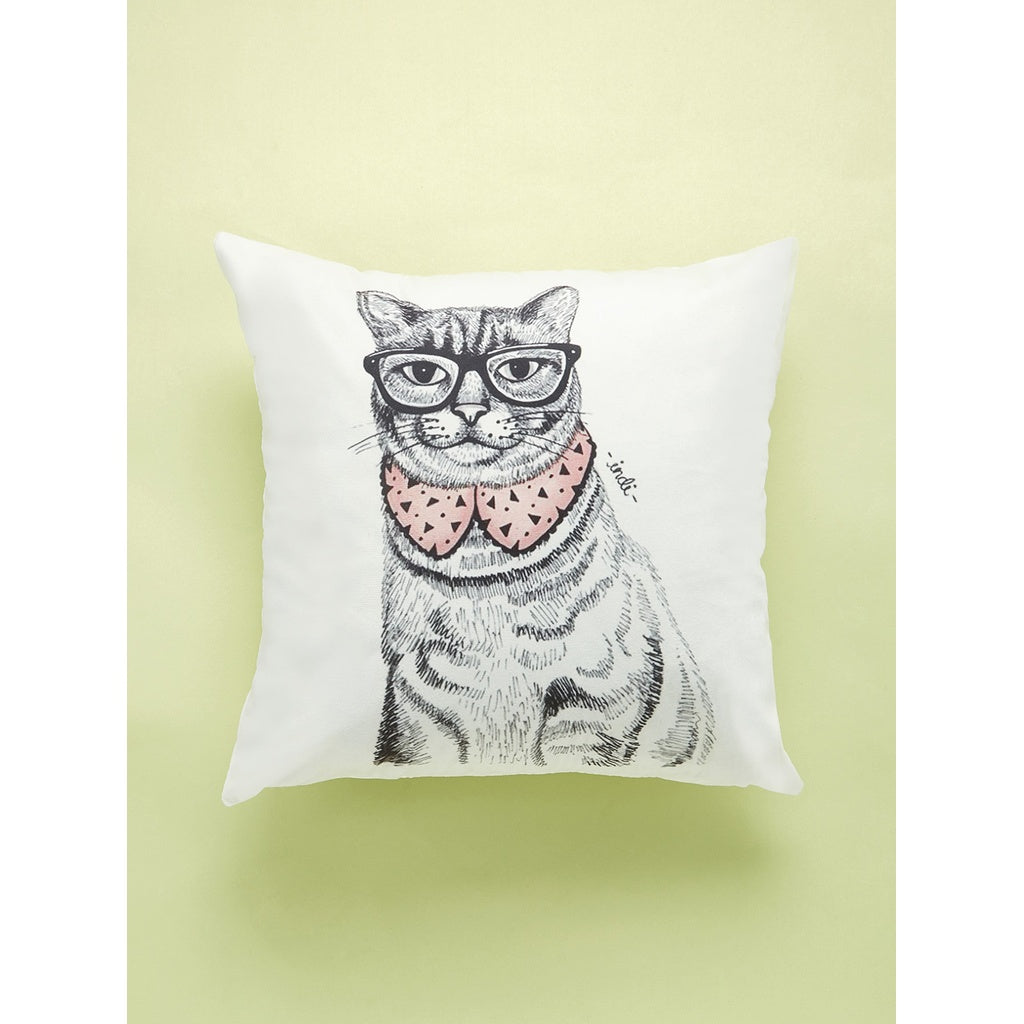 Cat With Spectacles Print Cushion Cover