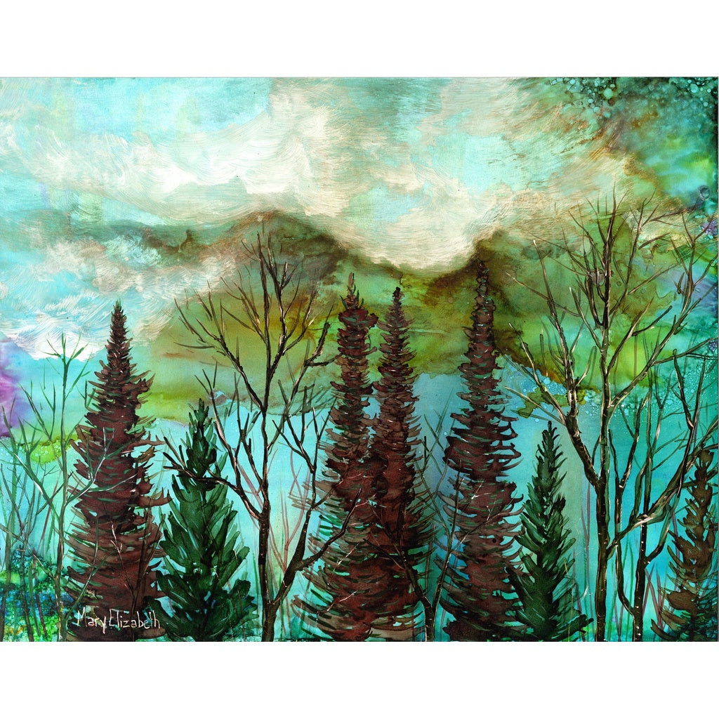 """Moody Sky"" landscape mixed media painting"