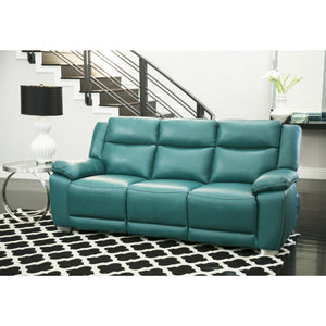 Abbyson Leyla Turquoise Top Grain Leather Push Back Reclining Sofa