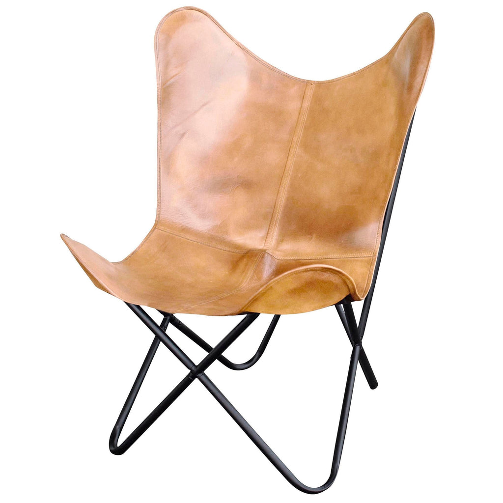 Amerihome Leather Butterfly Chair in Light Natural Tan