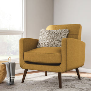 Carson Carrington Keflavik Mid-century Mustard Yellow Linen Arm Chair