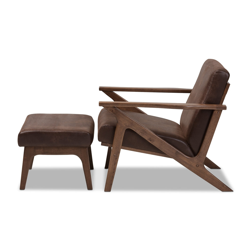 Mid-Century Lounge Chair and Ottoman Set by Baxton Studio
