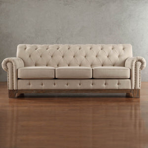 Greenwich Tufted Scroll Arm Nailhead Beige Chesterfield Sofa by iNSPIRE Q Artisan