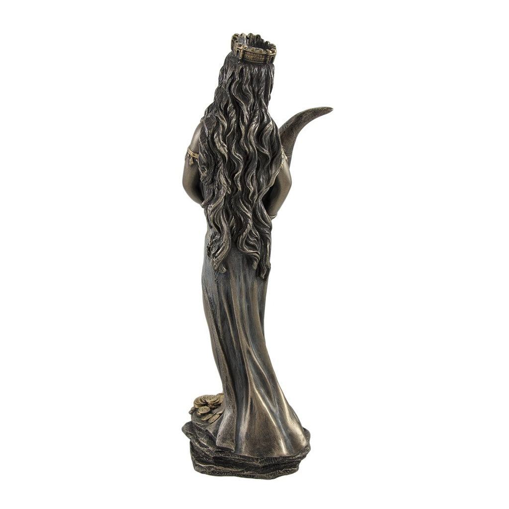 Bronzed Fortuna Roman Goddess of Fortune Statue Tykhe 7 In.