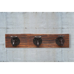 Rustic Wall Mounted Iron & Wood Faucet Coat Hook, Hat Rack
