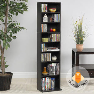 DVD HOLDER MEDIA STORAGE Movie CD Book Shelf Slim Cabinet Stand Wood Espresso
