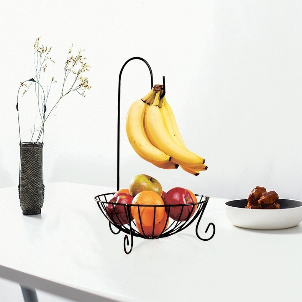 Novelty Kitchen Metal Fruit Basket with Detachable Banana Hanger Holder Hook (Black)