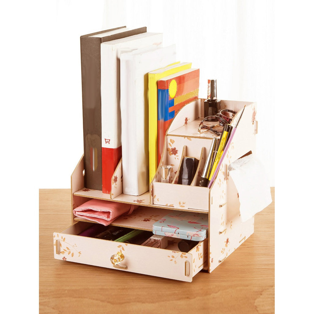 Floral Compartment Desk Organizer With Drawer