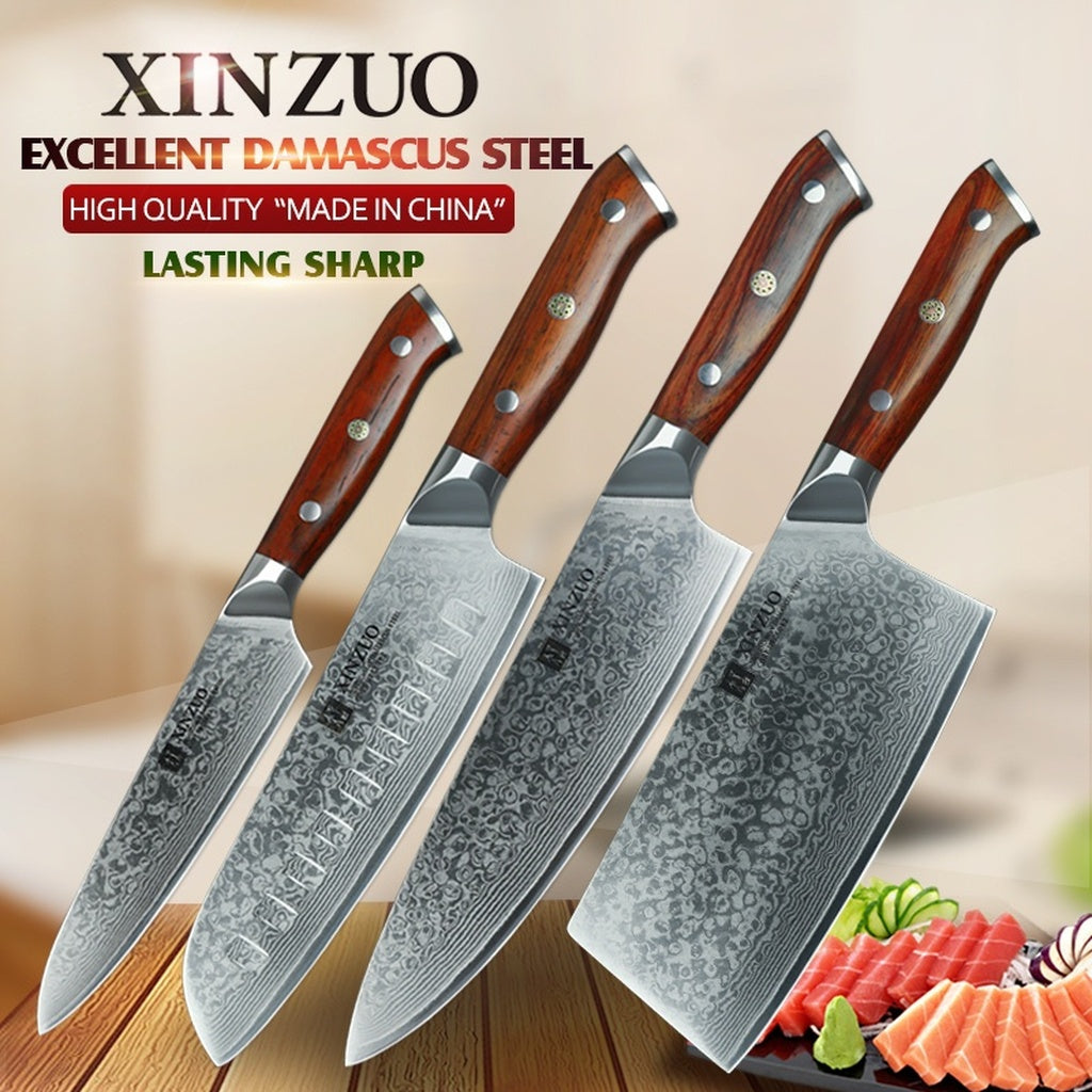 XINZUO 4 pcs kitchen knife set Damascus steel kitchen knife set stainless steel chef utility knife rosewood handle