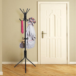 Coat Rack Standing Entryway Coat Tree Hat Hanger Holder 11 Hooks for Jacket Umbrella Tree Stand with Base Metal (Black)