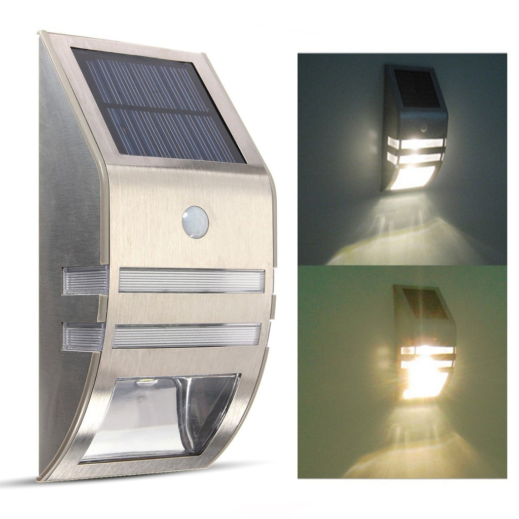 Solar Powered PIR Motion Sensor 2 LED Security Light Garden Wall Steps Outdoor