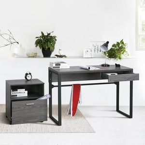FurnitureR Dark Grey Color Console Table Entryway Table Workstation Desk with 1 Drawer Wooden Pattern and Metal Leg