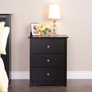 Sonoma 3-drawer Tall Nightstand, Black