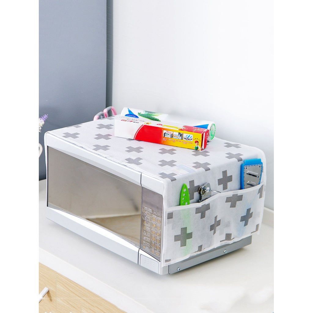 Cross Print Microwave Oven Dust Cover