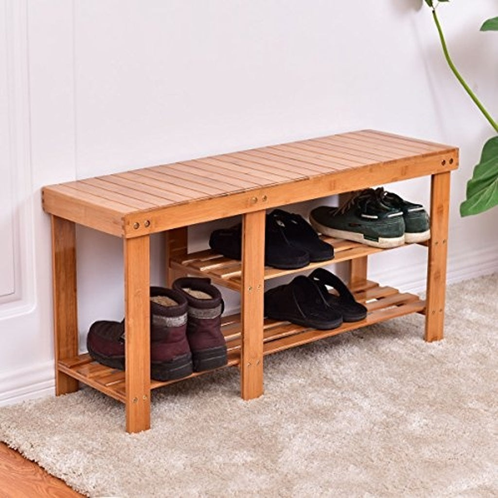Costway 2-tier Bamboo Shoe Bench Boot Rack Entryway Furniture (Natural)