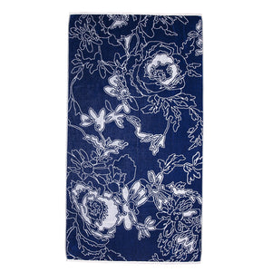 Blue Graphic Flowers Beach Towel