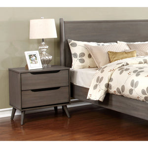 Danafrio 2 Drawer Nightstand Mid-Century Modern - Grey