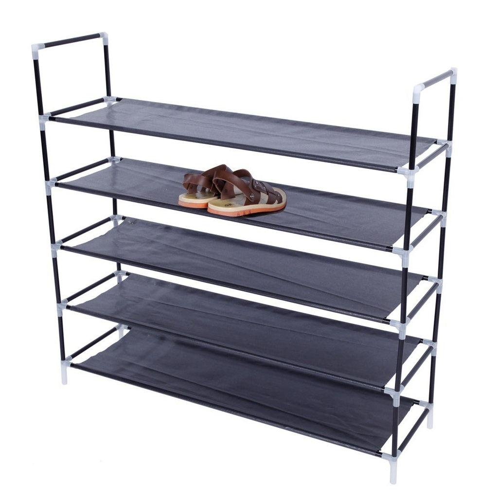 Simple Assembly Shoe Storage Shelf 5 Tiers/10 Tiers Non-woven Fabric Shoe Rack with Handle Black