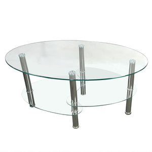Clear Glass Coffee Table Oval Side Chrome Base w/Shelves Living Room Furniture