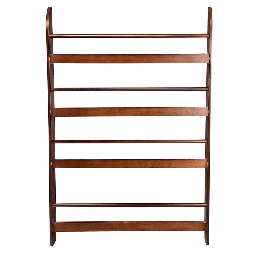 Yescom 4 Tier Wood Wall Mounted Bookshelf Floating Shelf Book Rack Organizer Display Space Saving Home Decoration