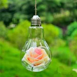 Clear Bulb Shape Glass Hanging Vase