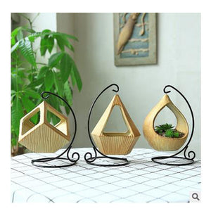 Decorative hanging planters for succulents with plant stand