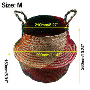 Wicker Seagrass Belly Straw Pot Planter