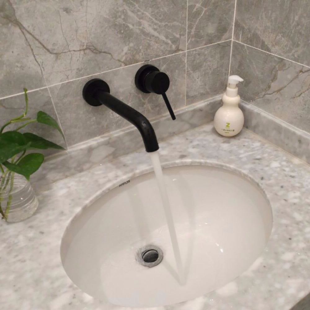 Brass Black Plated Wall Mounted Bathroom Faucet