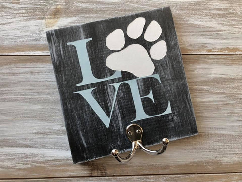 LOVE- Dog Leash Hook sign