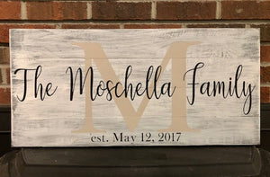 Last Name Family Sign