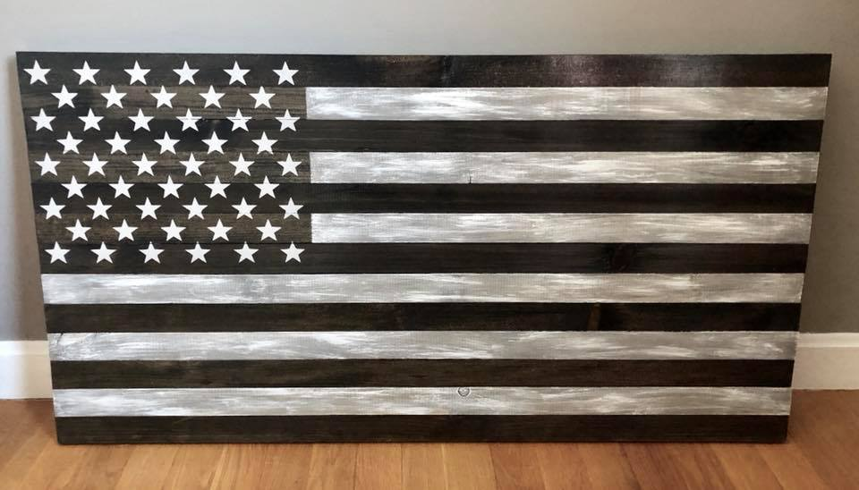 Rustic Black & Grey whitewashed Flag