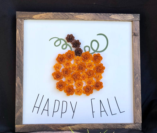 Happy Fall Pumpkin flower sign