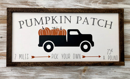 Pumpkin patch truck sign