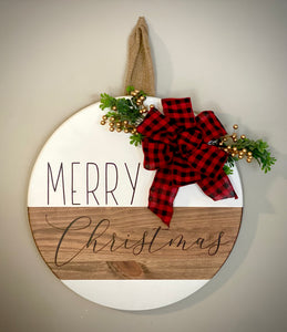 Merry Christmas Wooden round