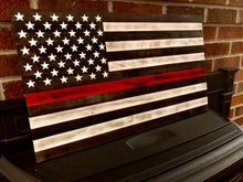 Rustic Red line Firefighter flag