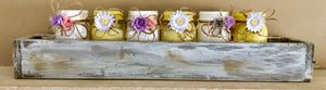 Rustic tray with Mason Jars and paper flowers
