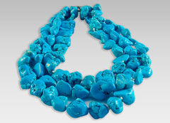 BluEarthJewelry.com - Three Strand Chunky Turquoise Necklace