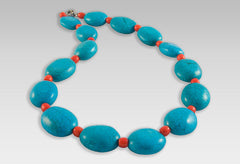 BluEarthJewelry.com - Turquoise & Coral Necklace