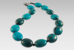 BluEarthJewelry.com - Turquoise & Black Agate Necklace
