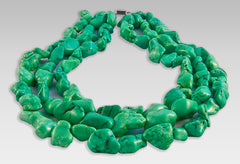 BluEarthJewelry.com - Three Strand Chunky Green Turquoise Necklace