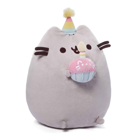 Gund Pusheen Cat Birthday Plush 10.5 Inches holding cupcake