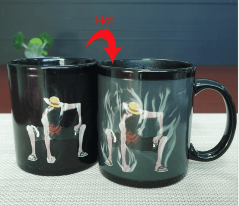 One Piece Monkey D Luffy Mug Cup Magic Ceramic Coffee Cups Hot Cold Heat Sensitive Color-Changing for friend Gift