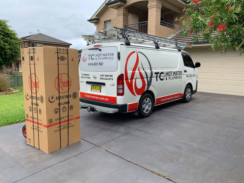 TC Hot Water van delivering new Rheem hot water system