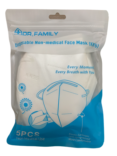 Disposable KN95 Face Masks, Non-Woven 5-Layer Disposable Mask 5 Units/Carton